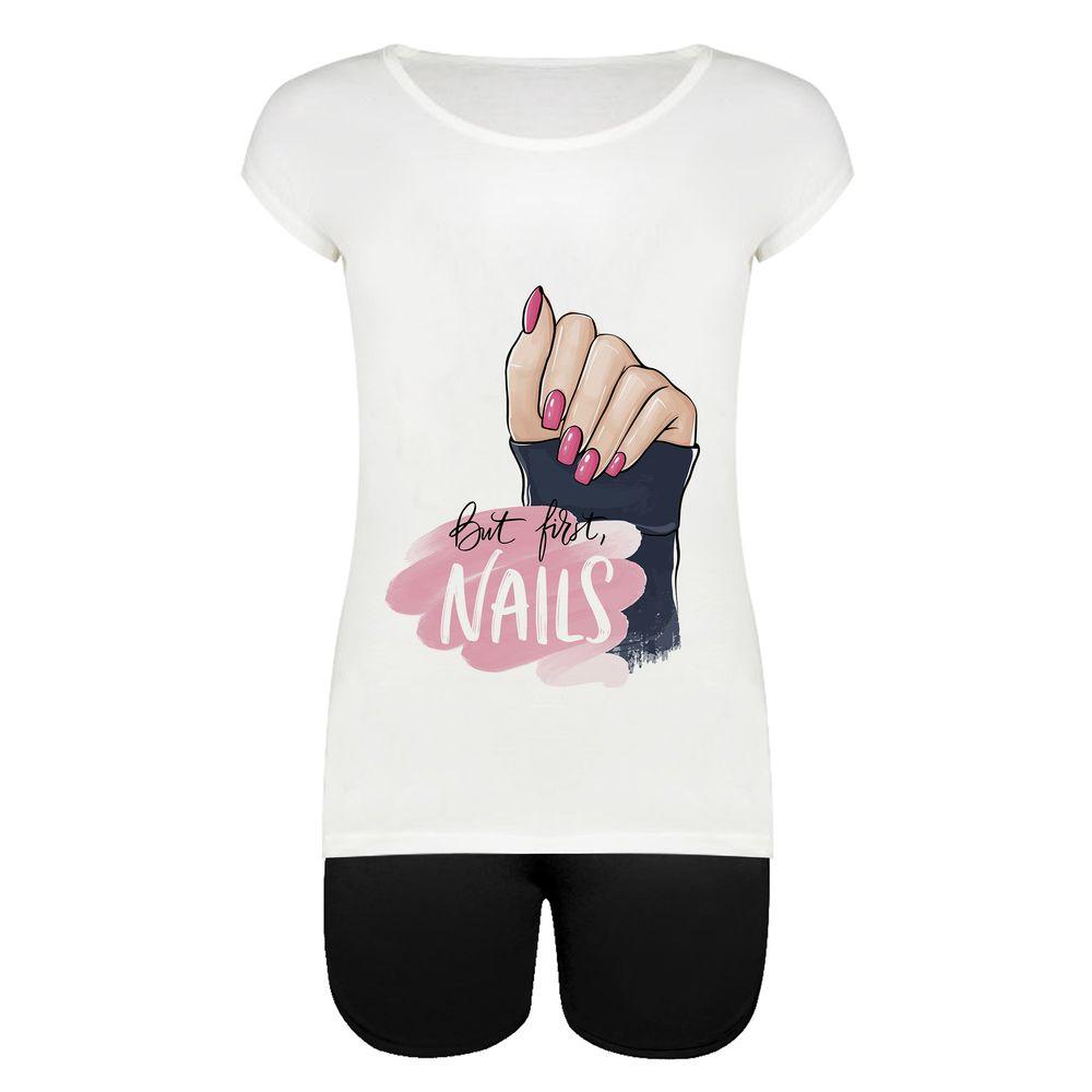 ست تیشرت و شلوارک زنانه طرح Nails Hand کد 1000047