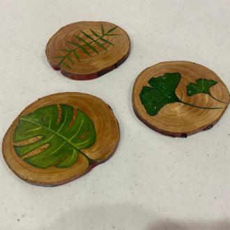 زیرلیوانی چوبی مدل برگ بسته 3 عددی