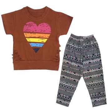 ست تی شرت و شلوارک دخترانه مدل بازیل کد 506