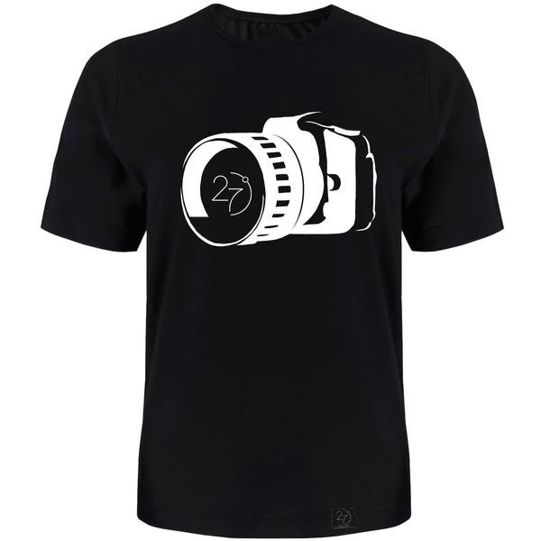 تیشرت مردانه 27 طرح دوربین کد J01 رنگ مشکی