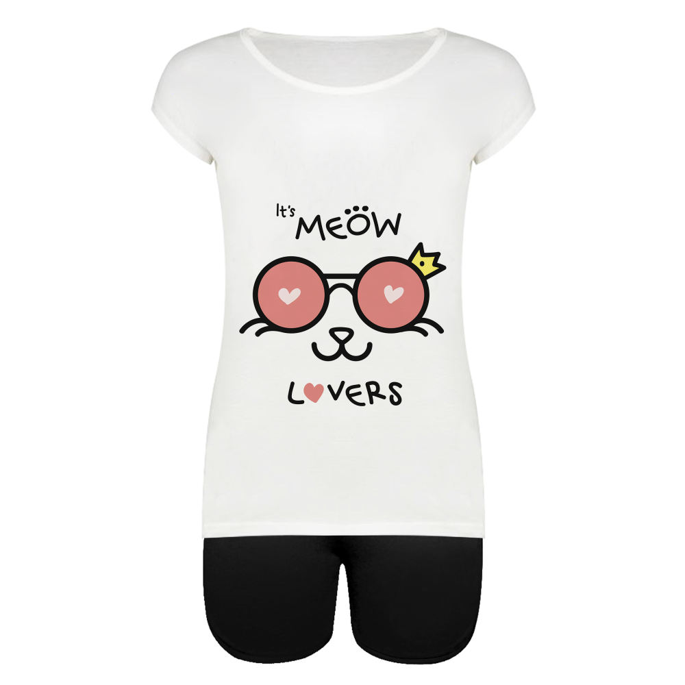 ست تیشرت و شلوارک زنانه طرح Meow Cat کد 1000049