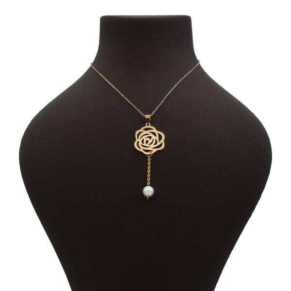 گردنبند طلا 18 عیار زنانه آمانژ طرح گل رز کد 1004D8961