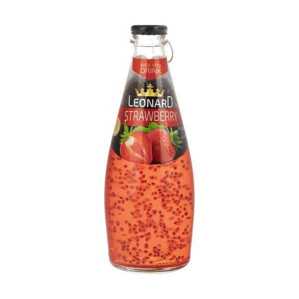 نوشیدنی لئونارد با طعم توت فرنگی و تخم ریحان - 300 میلی لیتر