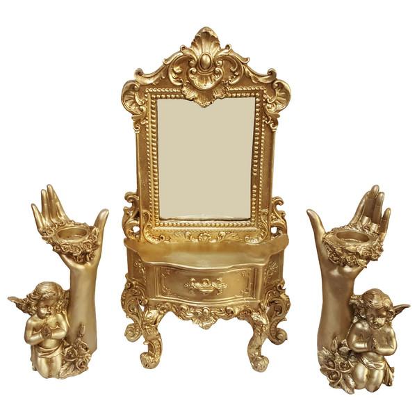 آیینه و شمعدان لیلپار طرح فرشته مدل DGN-0050 T مجموعه سه عددی