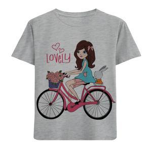 تیشرت آستین کوتاه دخترانه طرح دوچرخه سوار کد F89