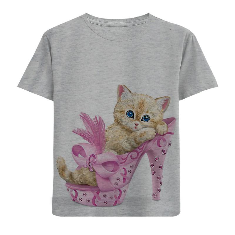 تیشرت آستین کوتاه دخترانه طرح گربه و کفش کد F101