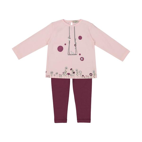 ست تی شرت و شلوار نوزادی دخترانه پیانو مدل 1097-81
