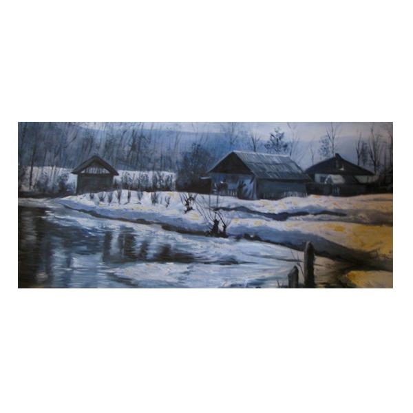 خرید                      تابلو نقاشی رنگ روغن طرح کلبه برفی کد S&E05
