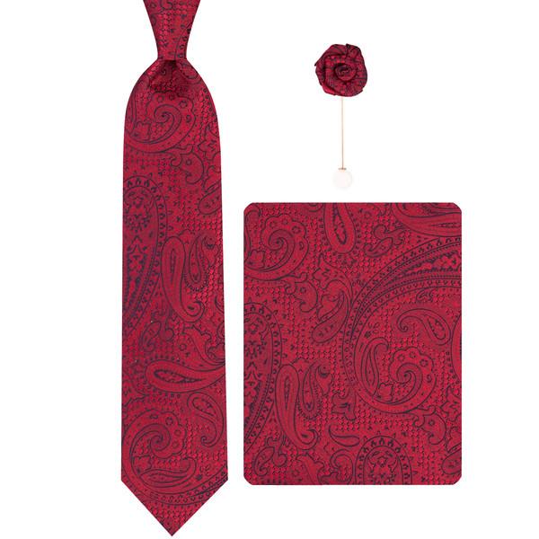 ست کراوات و دستمال جیب و گل کت مردانه جیان فرانکو روسی مدل GF-PA412-BE