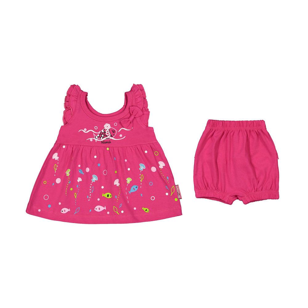 ست پیراهن و شورت نوزادی دخترانه مدل 2171111-88