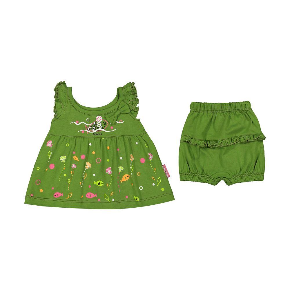 ست پیراهن و شورت نوزادی دخترانه مدل 2171111-42