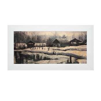 تابلو نقاشی رنگ روغن طرح کلبه برفی کد S&E05