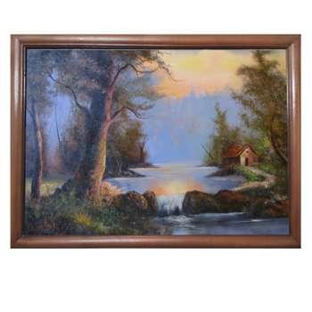 تابلو نقاشی رنگ روغن طرح غروب و کلبه کد SE03