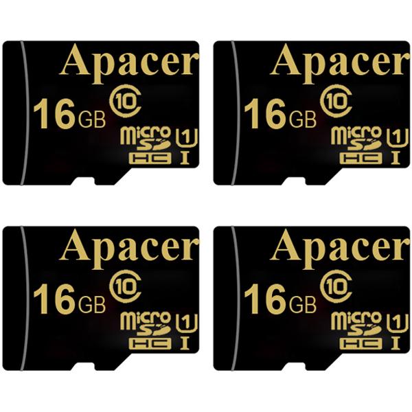 بررسی و {خرید با تخفیف}                                      کارت حافظه microSDHC اپیسر مدل AP16GA کلاس 10 استاندارد  UHS-I U1 سرعت 45MBps ظرفیت 16 گیگابایت بسته 4 عددی                             اصل