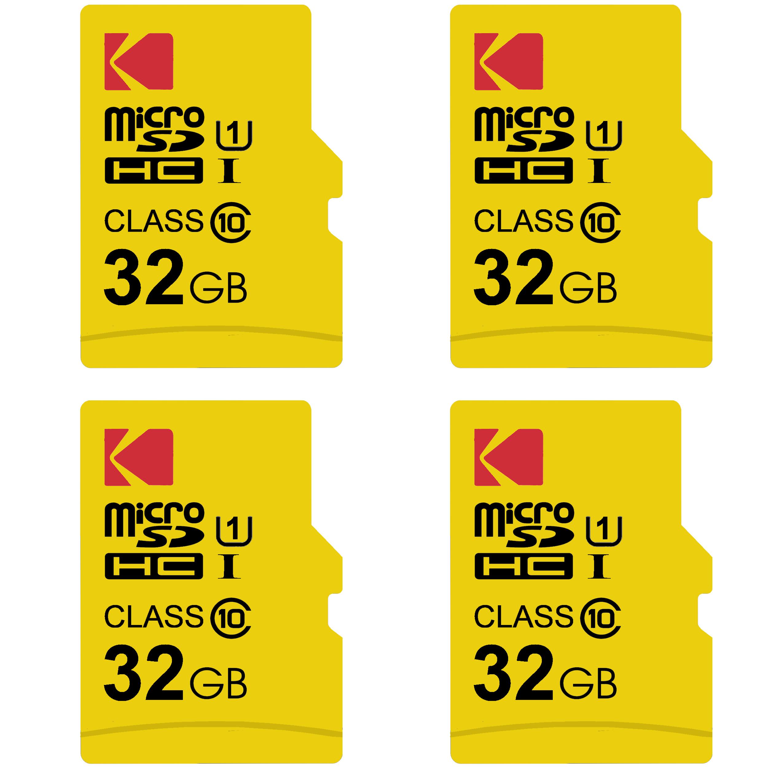 کارت حافظه microSDHC کداک مدل Premium Performance کلاس 10 استاندارد UHS-I U1 سرعت 85MBps ظرفیت 32 گیگابایت بسته 4 عددی