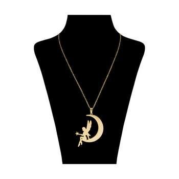 گردنبند نقره زنانه طرح ماه و فرشته کد UN0091