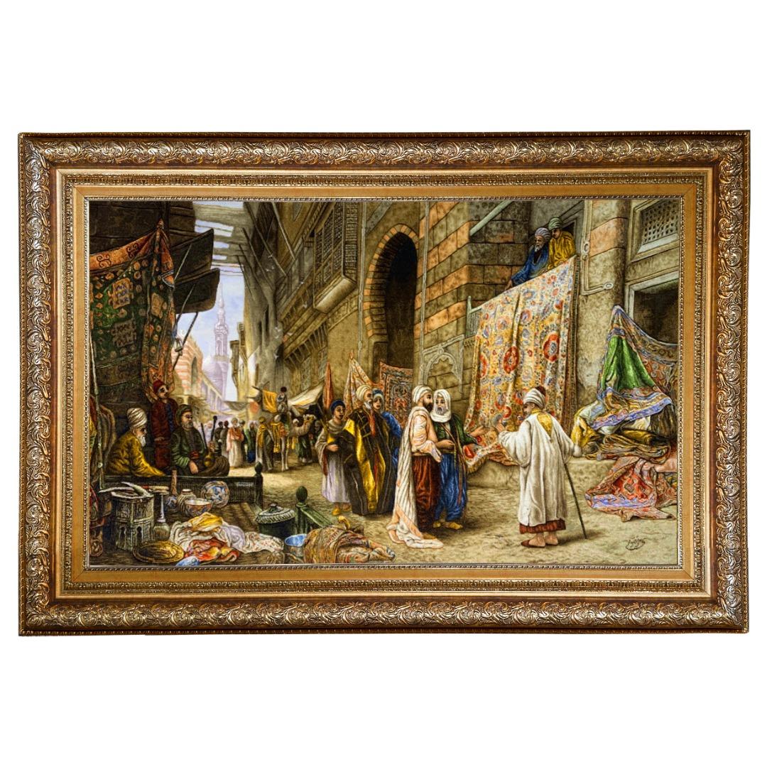 تابلو فرش دستبافت مدل بازار قاهره کد 159