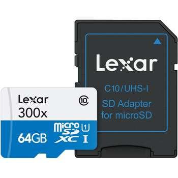 کارت حافظه microSDXC لکسار مدل High-Performance کلاس 10 استاندارد UHS-I U1 سرعت 45MBps 300X همراه با آداپتور SD ظرفیت 64 گیگابایت