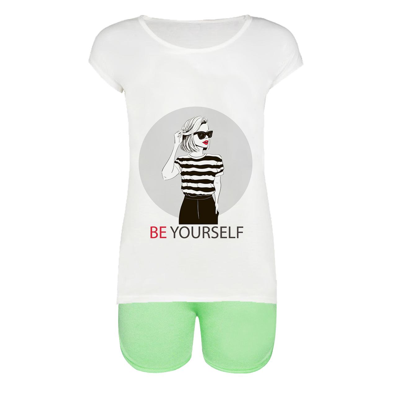 ست تیشرت و شلوارک زنانه طرح Be yourself کد 1000042 GR              👗
