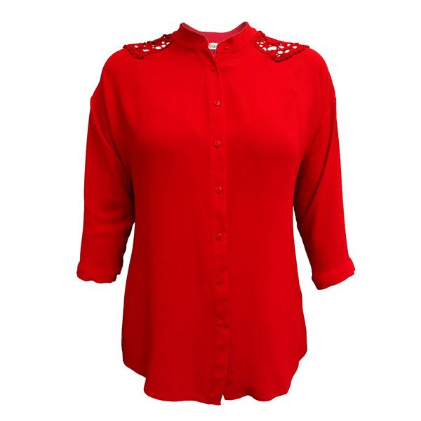 شومیز زنانه ساتین کد 412-2073 رنگ قرمز