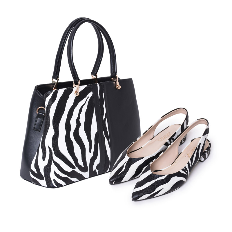 ست کیف و کفش زنانه جاویا طرح زبرا کد J1010