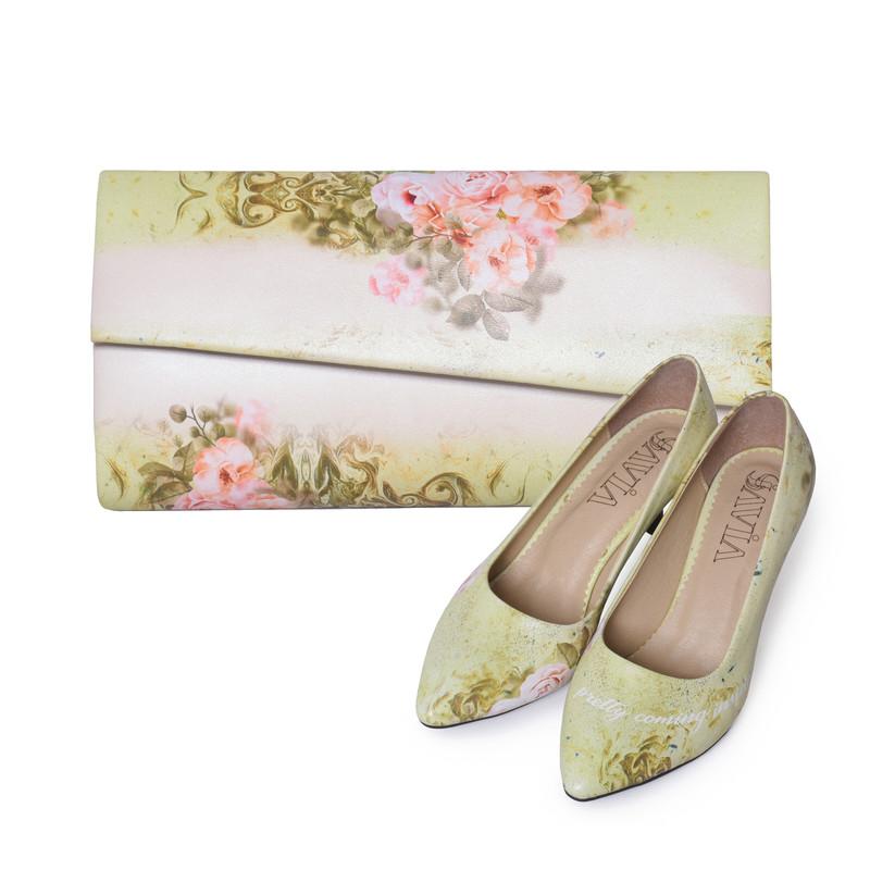 ست کیف و کفش زنانه جاویا طرح شقایق کد J1414