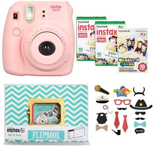 دوربین عکاسی چاپ سریع فوجی فیلم مدل Instax Mini 8 به همراه آلبوم، سه بسته کاغذ چاپگر و برچسب عکس