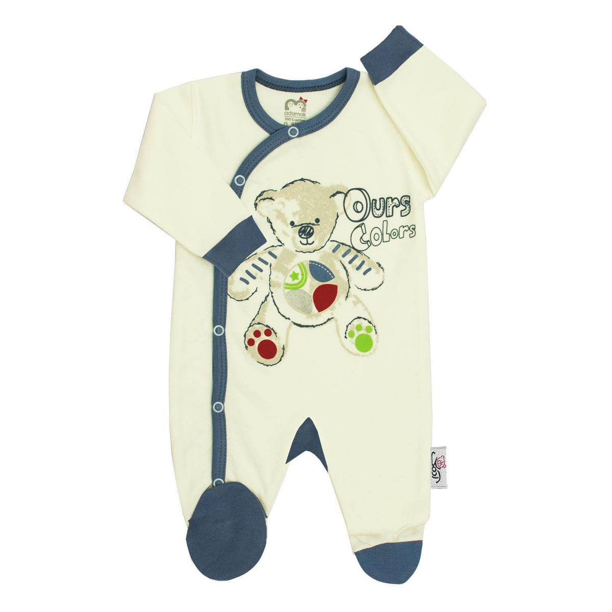 سرهمی نوزادی آدمک طرح تدی کد 46240 رنگ آبی
