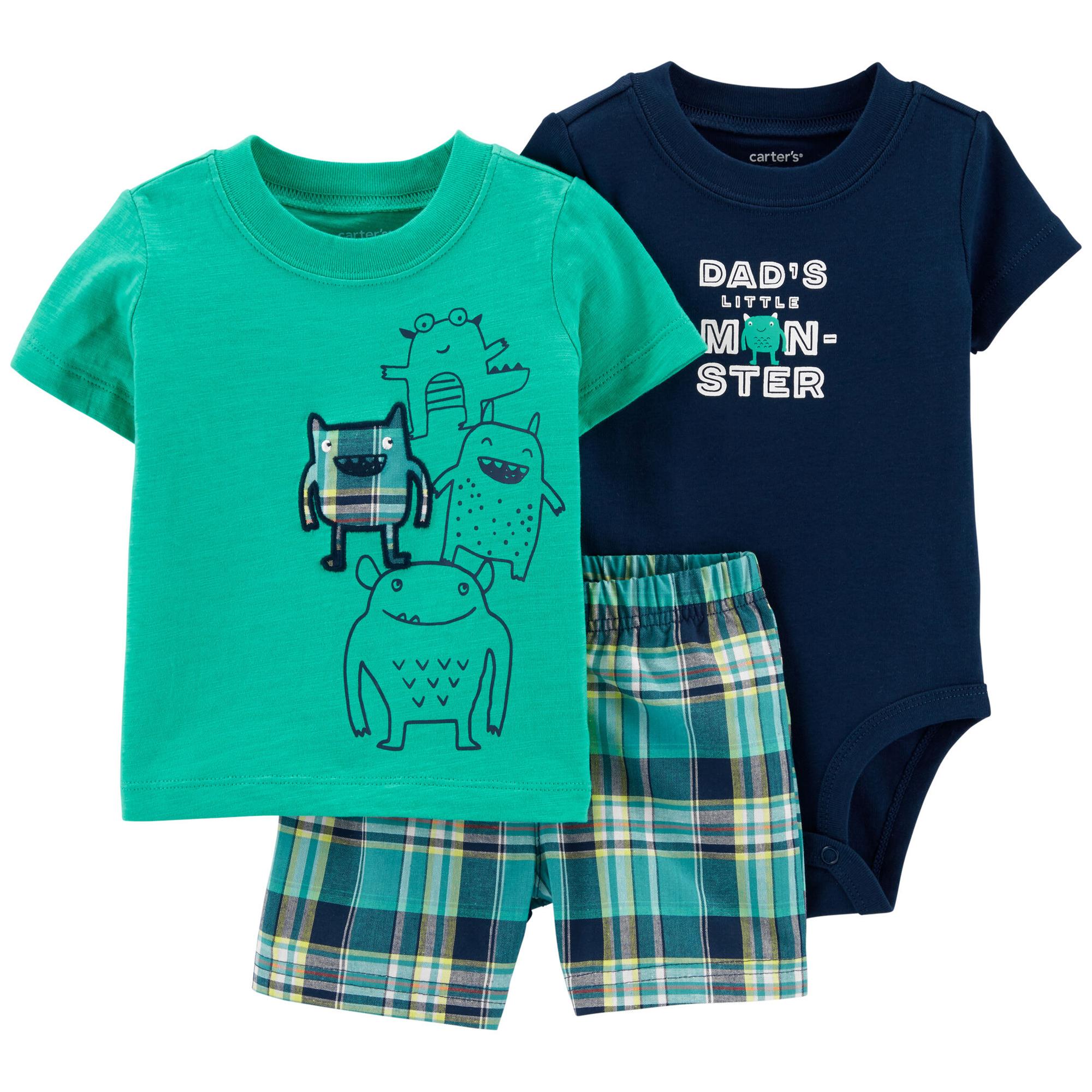 ست 3 تکه لباس نوزادی پسرانه کارترز طرح هیولا کوچولو کد M286