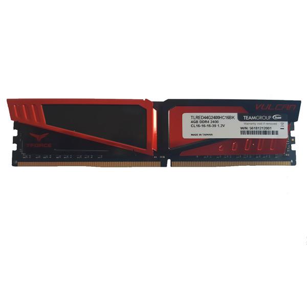 رم دسکتاپ DDR4 تک کاناله 2400 مگاهرتز CL16 تیم گروپ مدل  TFORCE VULCAN GAMING  ظرفیت 4 گیگابایت