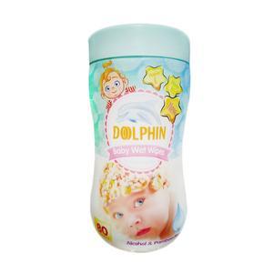 دستمال مرطوب کودک دلفین مدل Premium بسته 80 عددی