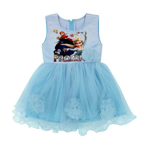 پیراهن دخترانه مدل فروزن رنگ آبی