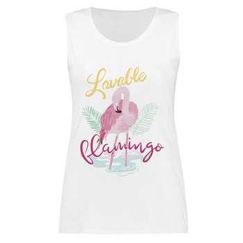 تاپ زنانه طرح Lovable Flamingo کد 201
