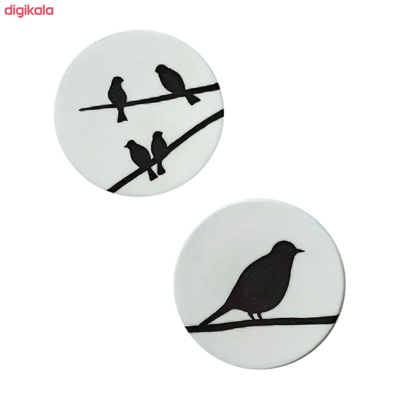 بشقاب دیوارکوب سفالی طرح پرنده کد D99-A مجموعه 6 عددی main 1 2