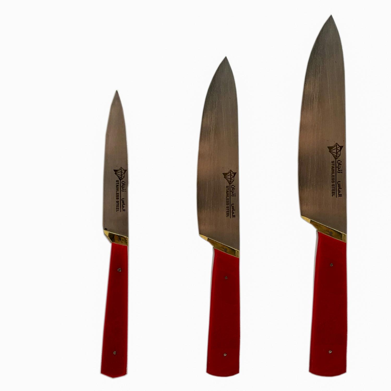 چاقوی آشپز خانه الماس زنجان کد۴۵ بسته ۳ عددی
