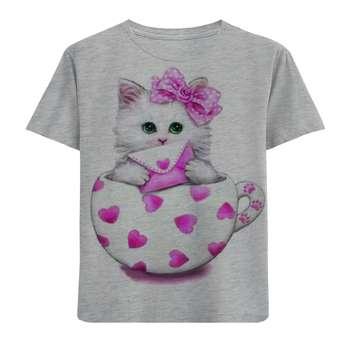 تی شرت آستین کوتاه دخترانه طرح گربه و پاکت نامه کد F106