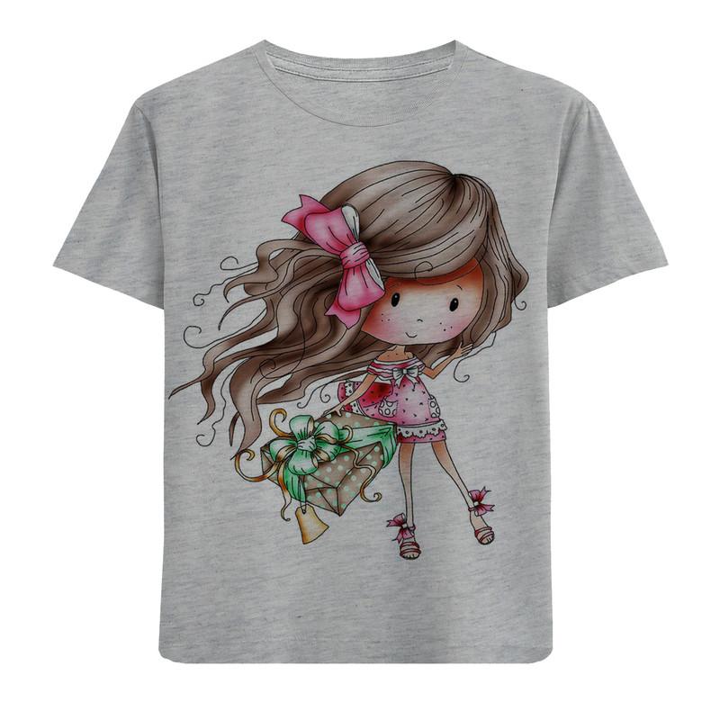 تیشرت آستین کوتاه دخترانه طرح دخترک و کادو کد F110