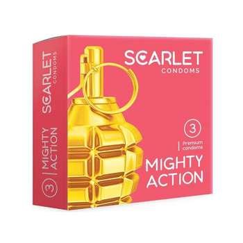 کاندوم اسکارلت مدل MIGHTY ACTION بسته ۳ عددی