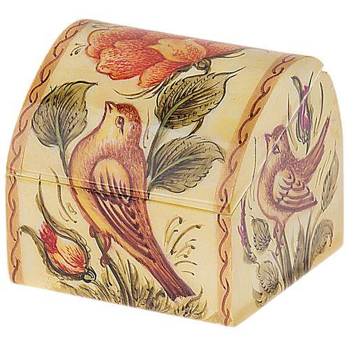 جعبه استخوانی اثر بهشتی طرح گل و مرغ سایز کوچک
