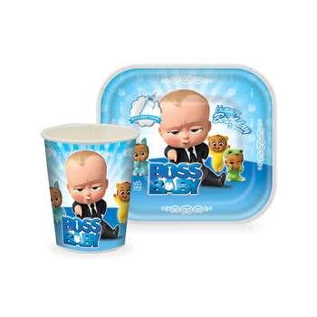 بشقاب و لیوان یکبار مصرف طرح بچه رییس بسته 24 عددی