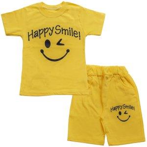 ست تیشرت و شلوارک پسرانه طرح happy smile کد 11