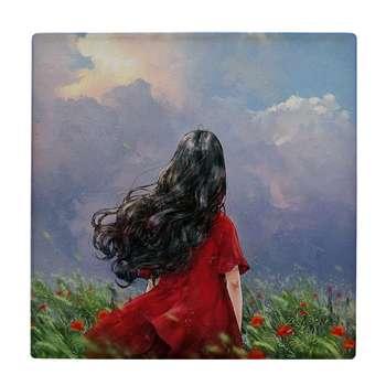 کاشی طرح دختر در دشت گل سرخ کد wk391