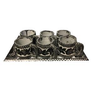 سرویس قهوه خوری سنگی 9 پارچه طرح گلسنگ کد SGHG01