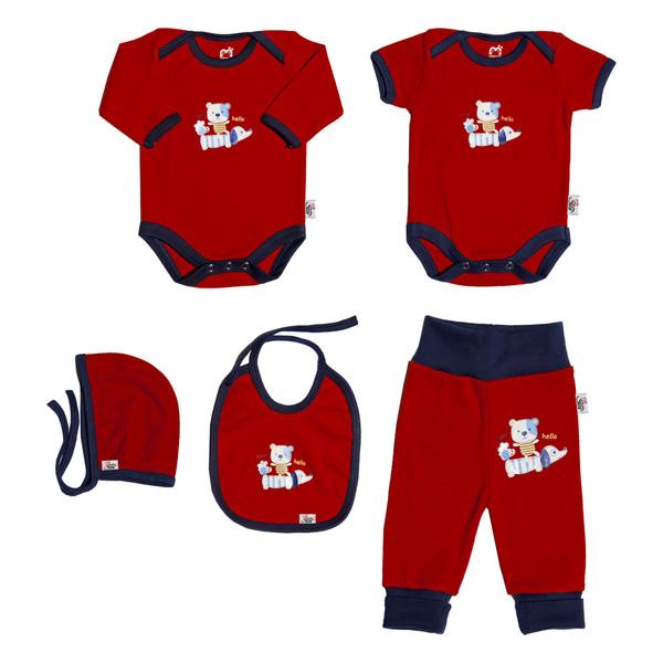 ست 5 تکه لباس نوزادی آدمک طرح خرس بازیگوش کد 152142