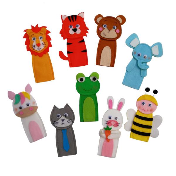 عروسک انگشتی مدل حیوانات جنگل کد 1 مجموعه 9 عددی
