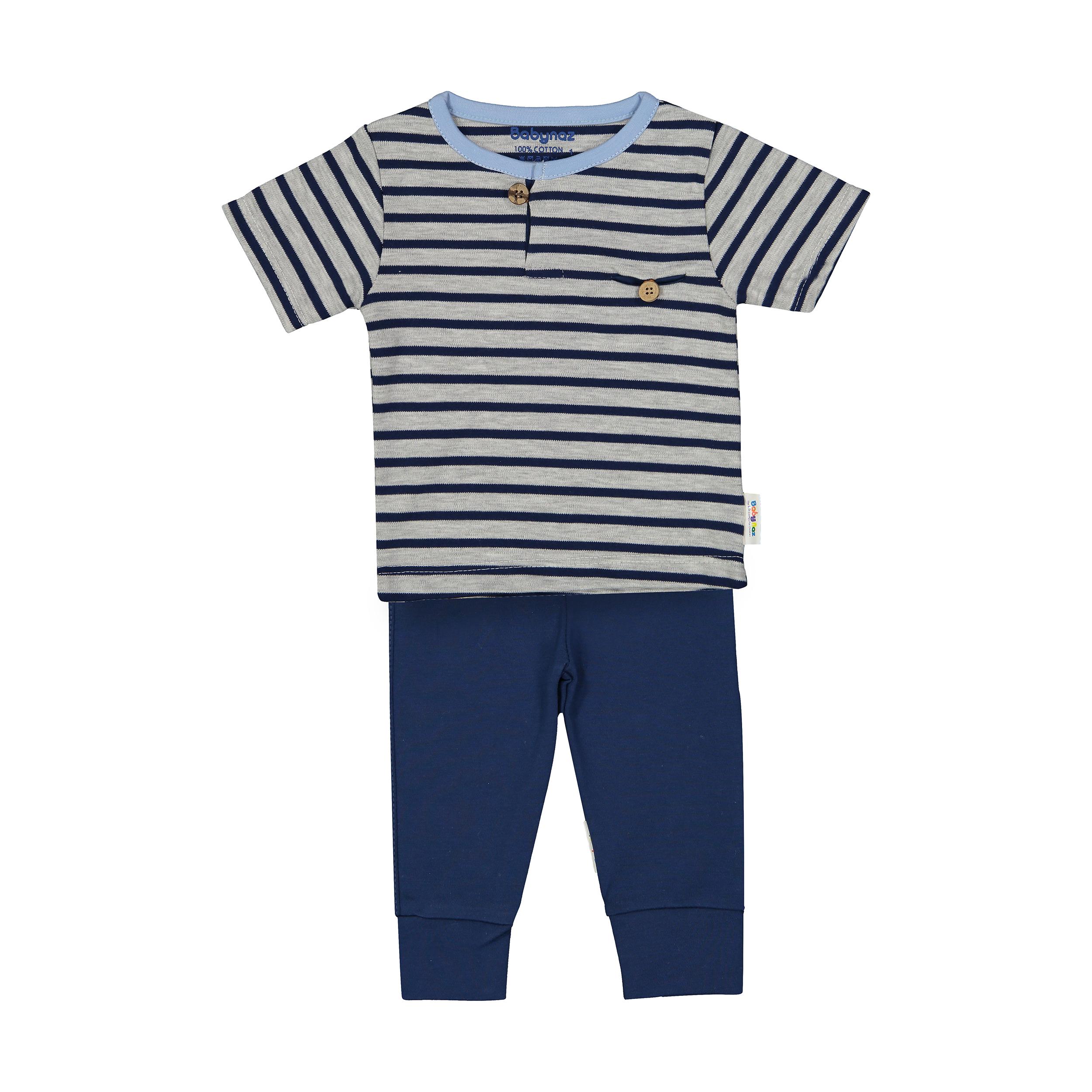 ست تی شرت و شلوار نوزادی پسرانه بی بی ناز مدل 1501496-5990