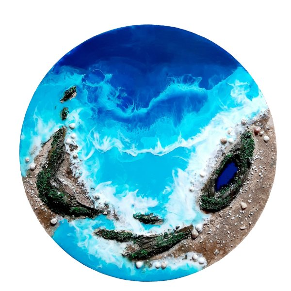 تابلو رزین طرح جزیره و دریا کد N_312