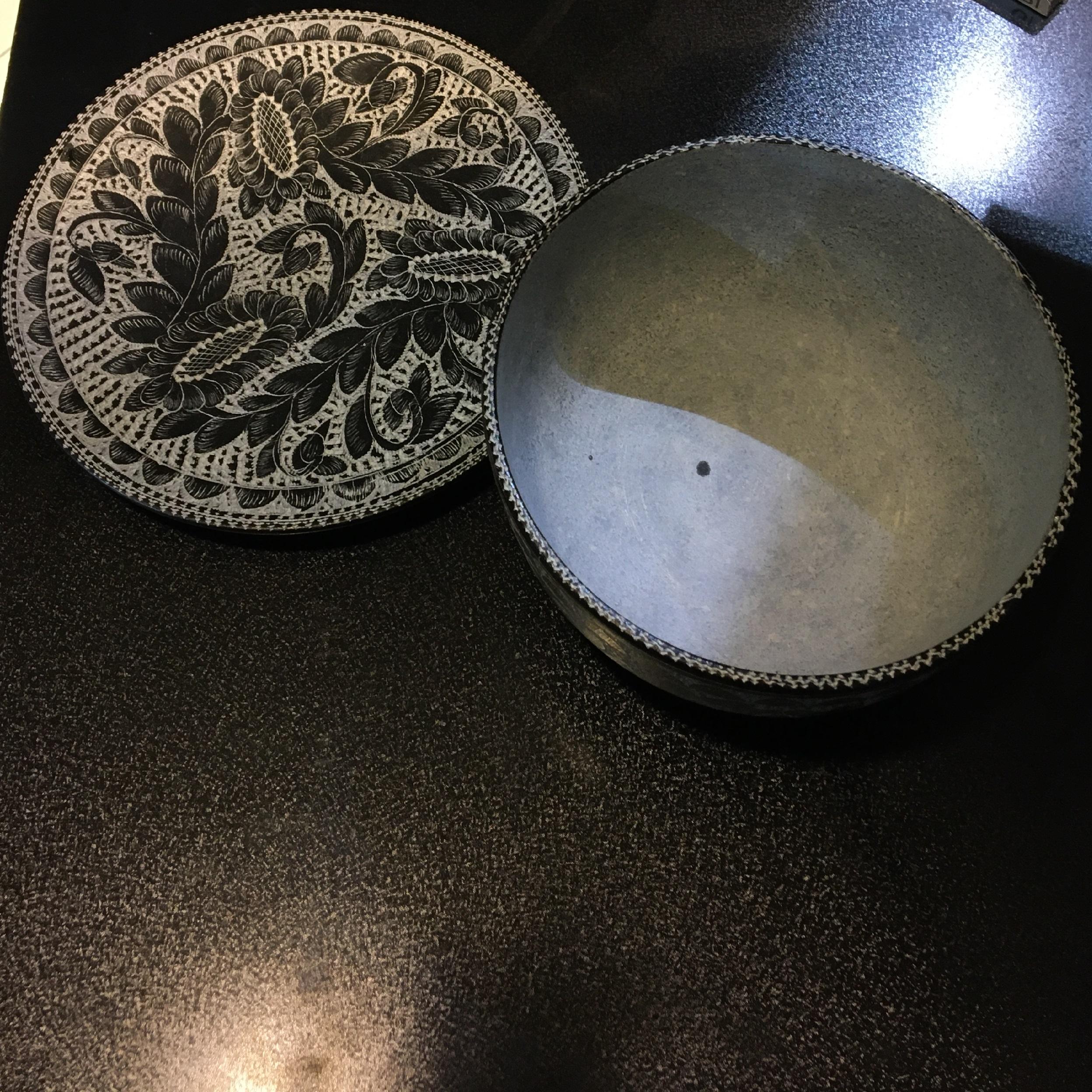 خرید                      ست کاسه و بشقاب سنگی طرح گلدار کد KBG010