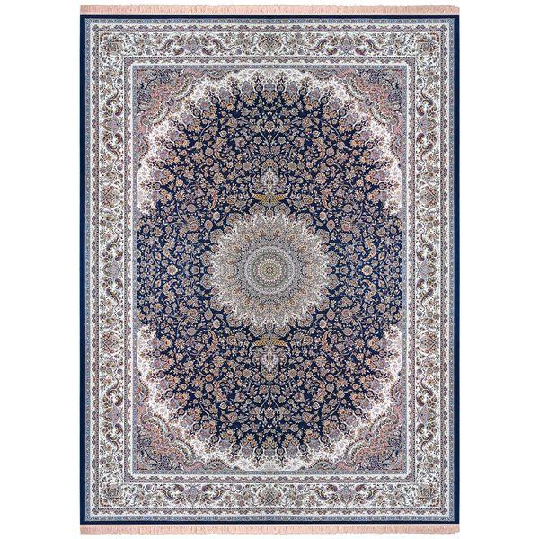 فرش ماشینی زمرد مشهد مدل 45003 زمینه آبی