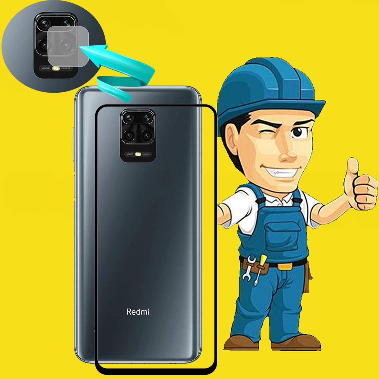 محافظ صفحه نمايش مدل FLGSP مناسب برای گوشی موبایل شیائومی Redmi Note 9 Pro به همراه محافظ لنز دوربین